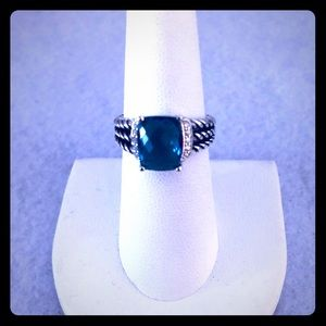 David Yurman 7 Blue Hampton Petite Wheaton Ring